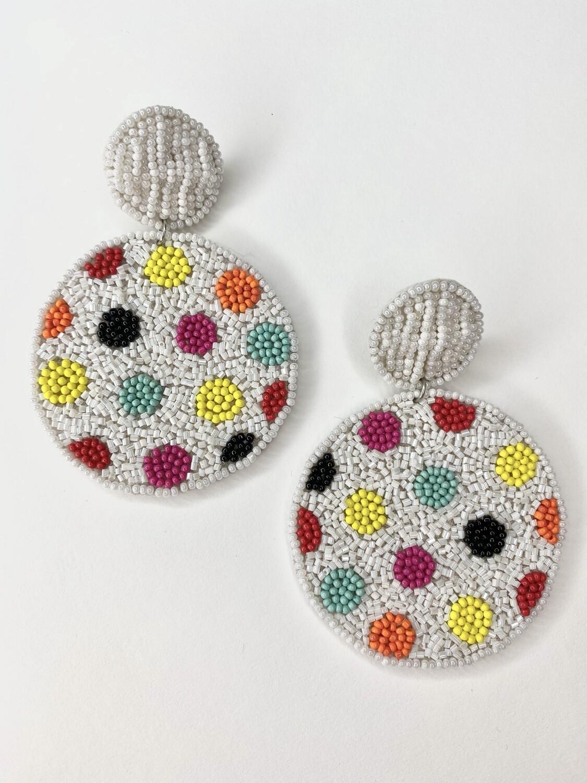 White Rainbow Dot Circle Earrings