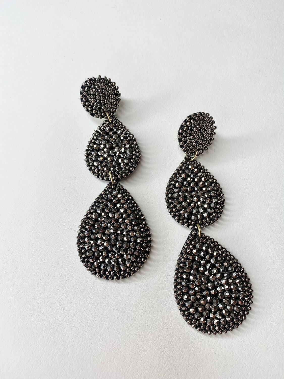 Hematite Tiered Teardrop Earrings