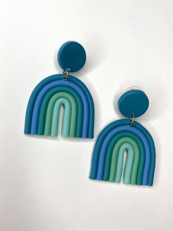 Blue Clay Rainbow Earrings