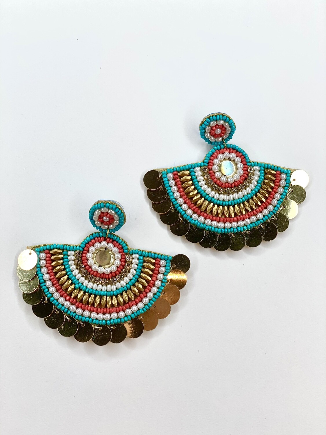 Teal & Coral Statement Earrings