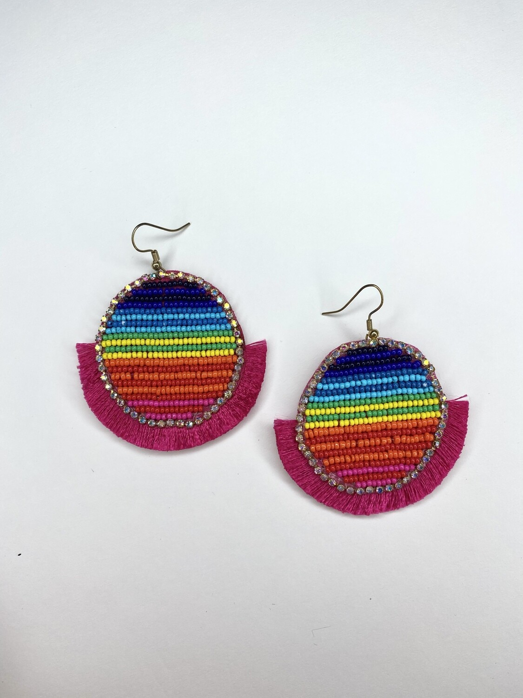 Pink Circle Cluster Beaded Earrings