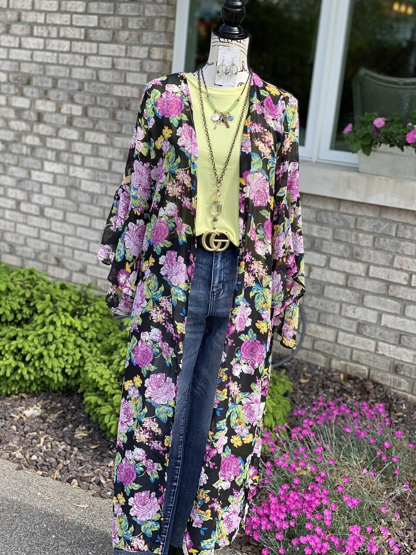 Purple Floral Sheer Kimono
