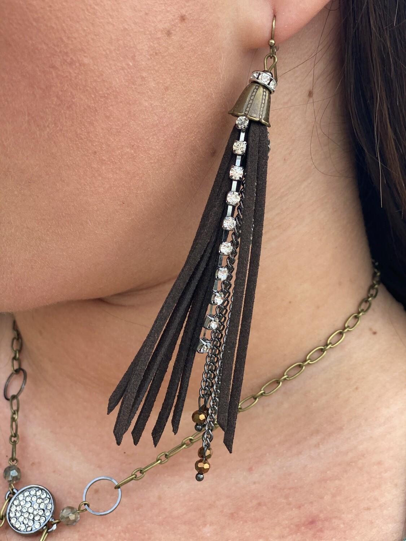 Leather & Jeweled Dangle Earrings