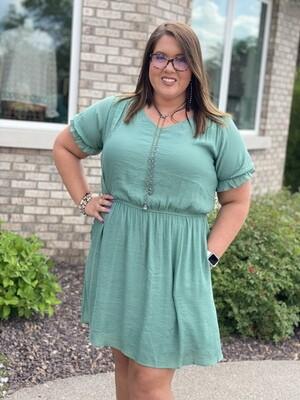 Green Woven V Neck Dress