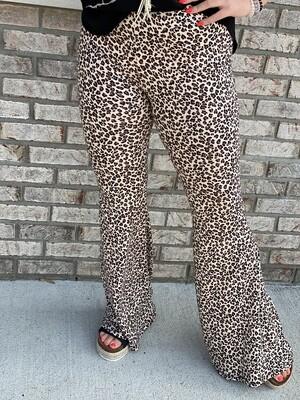 Leopard Bell Bottom Pants