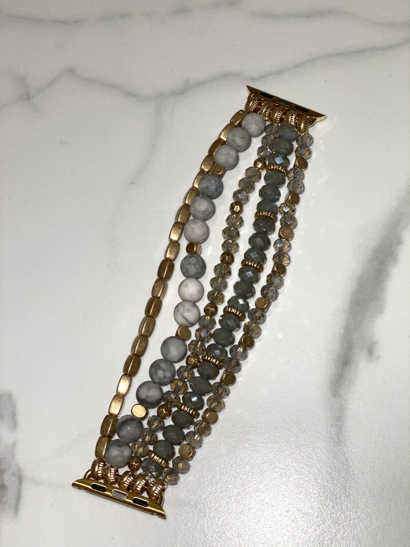 Grey Beaded Watch Band
