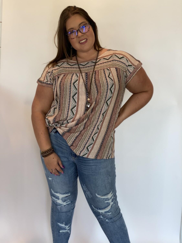 Mixed Tribal Print Short Sleeve Top