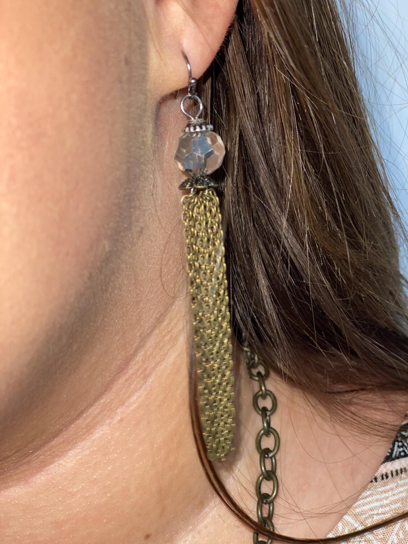 Brass Chain Link Dangle Earrings