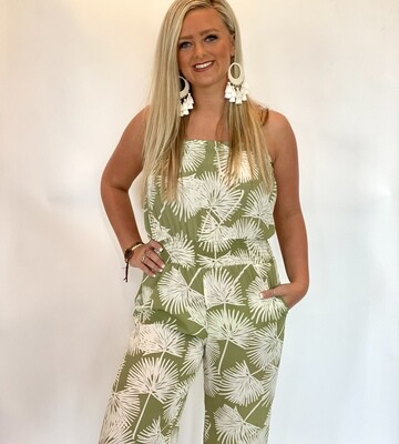 Sage Tropical Print Strapless Jumpsuit