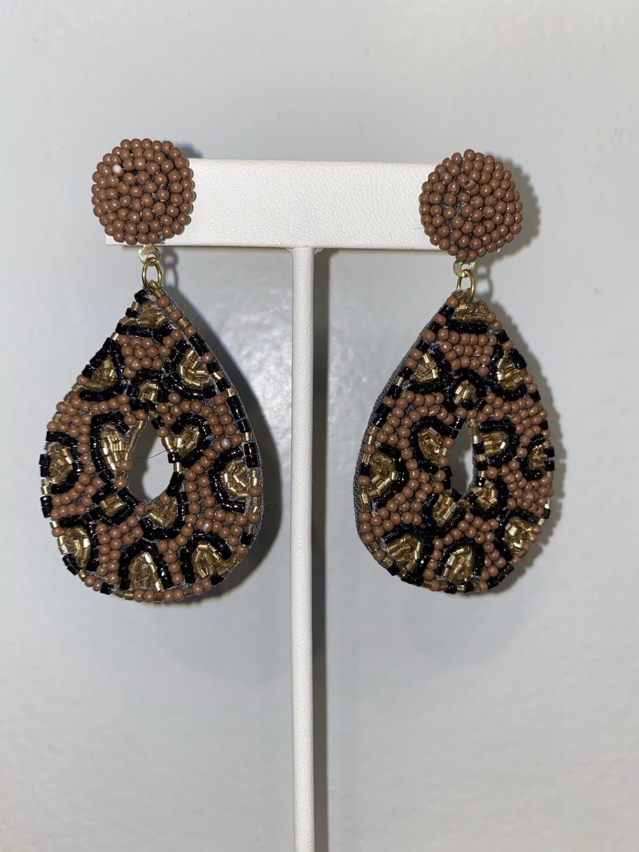 Sparkle Bead Cheetah Print Teardrop Earrings