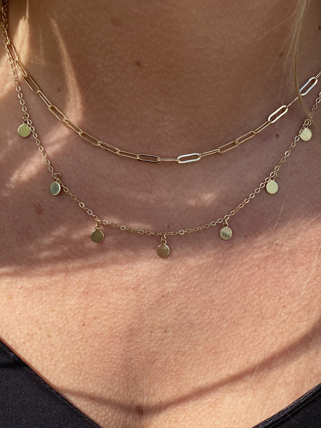Gold 2 Layer Chain & Disc Necklace
