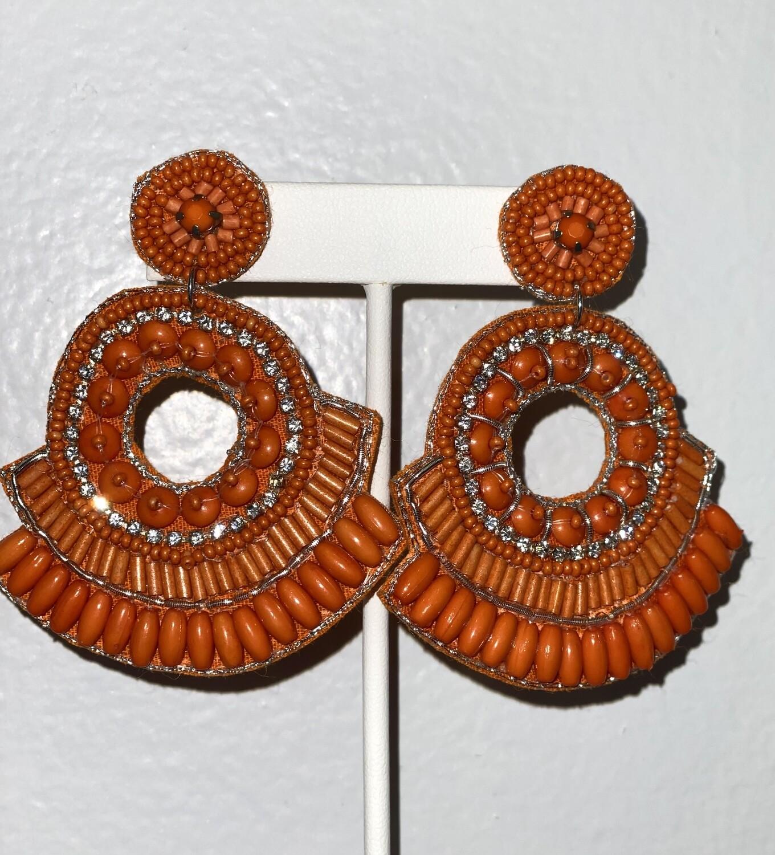 Orange Open Circle Beaded Earrings