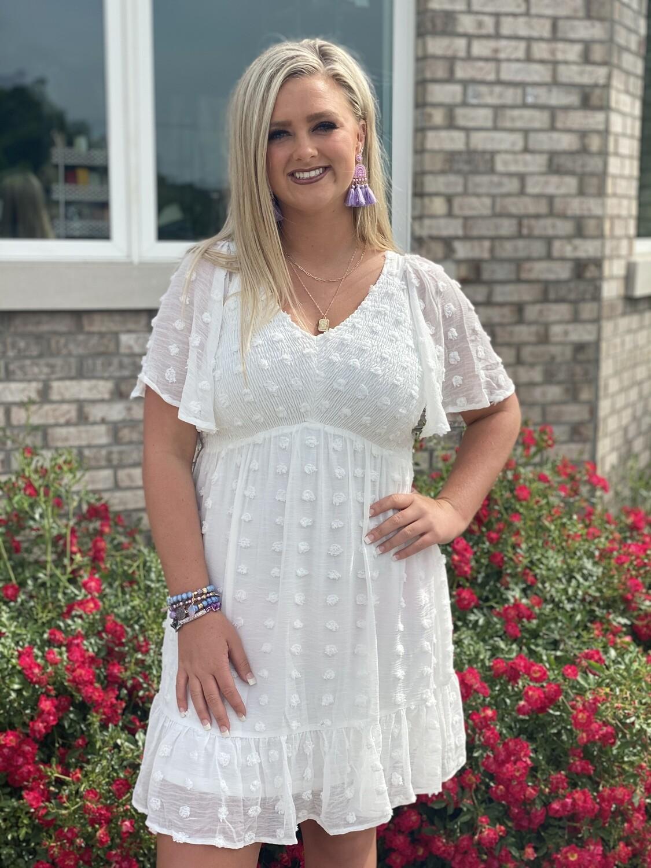 White Swiss Dot Smocked V Neck Dress