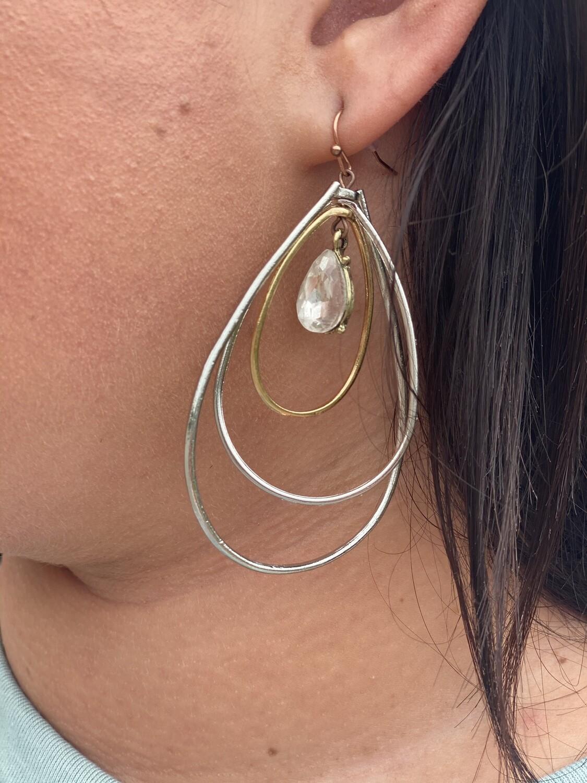 Triple Teardrop Jewel Earrings