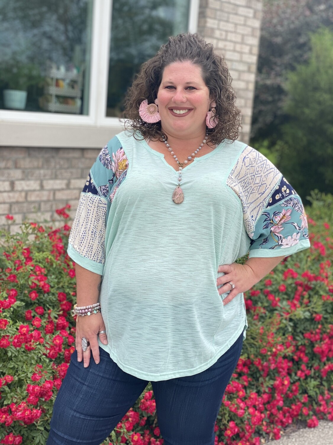 Plus Mint Mixed Print Relaxed Top