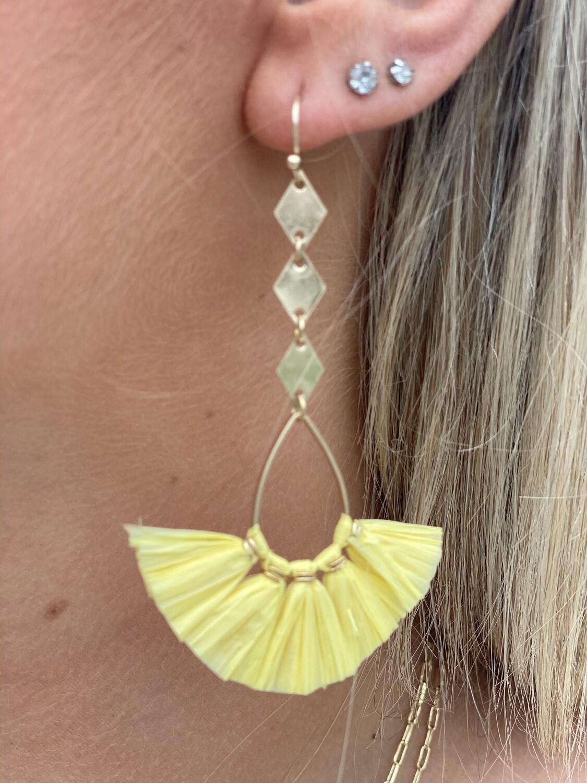 Yellow Raffia Dangle Earrings