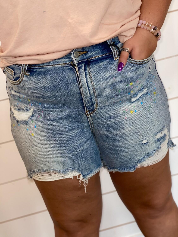 Plus Judy Blue Paint Splatter Shorts