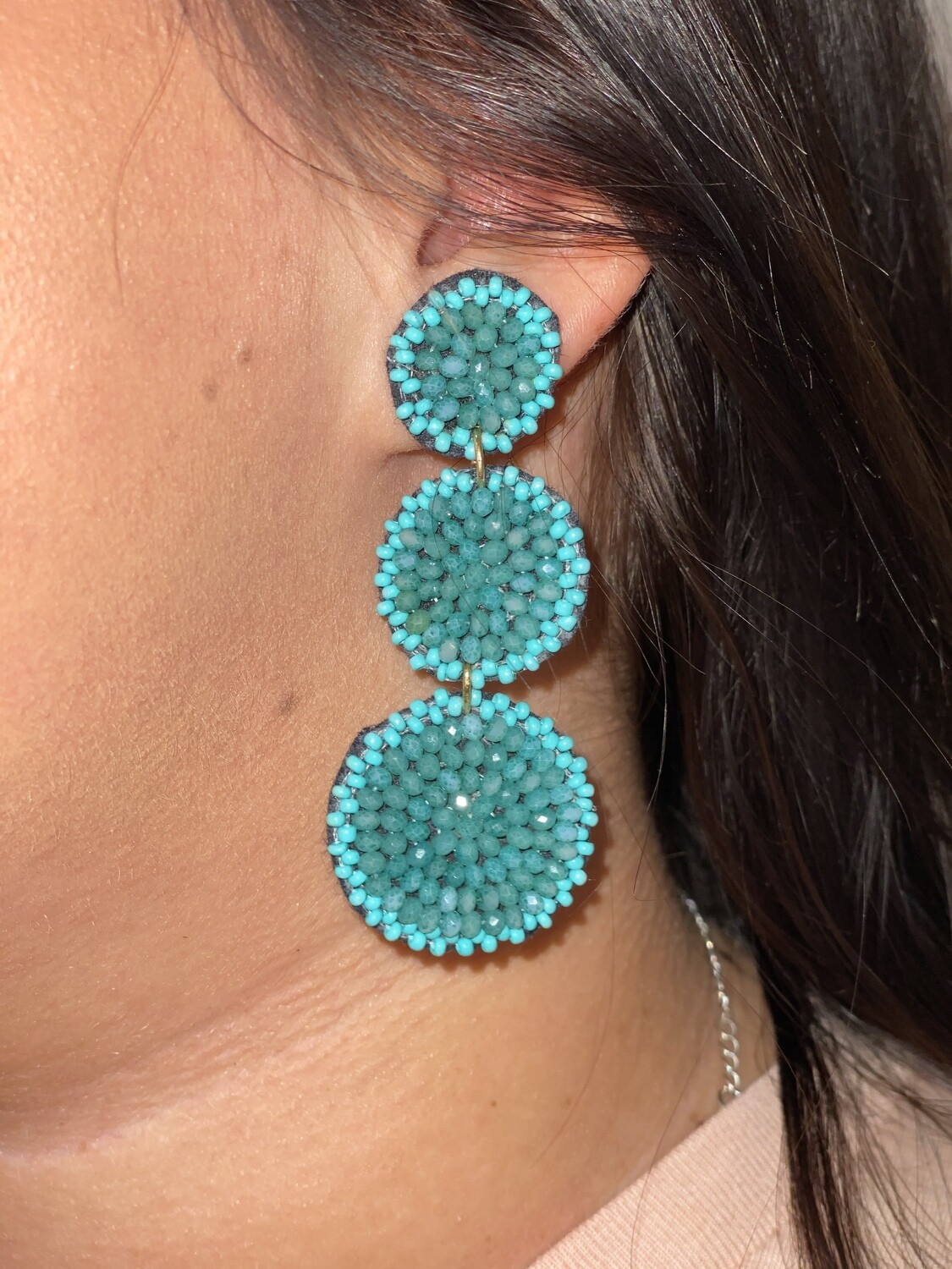 Turquoise Shimmer Bead Tiered Earrings