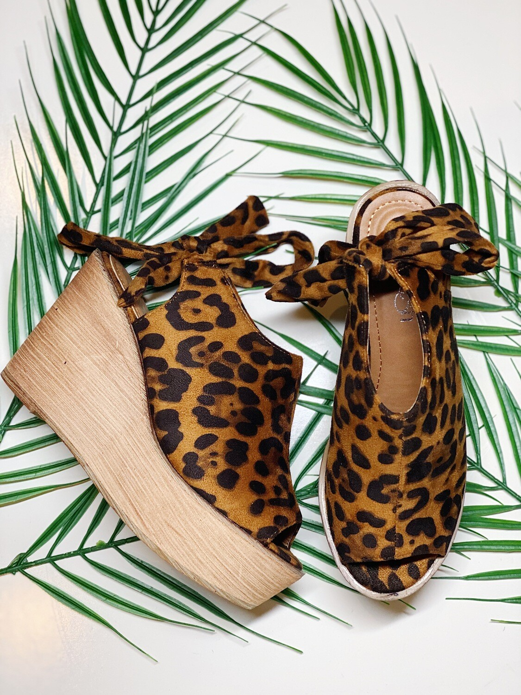 Wood Platform Cheetah Sandals