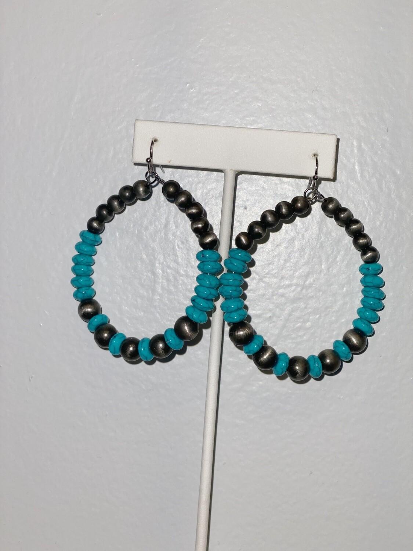 Navajo Pearl & Turquoise Beaded Hoop