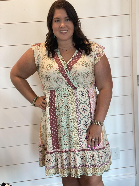 Boho Print Ruffled Dress