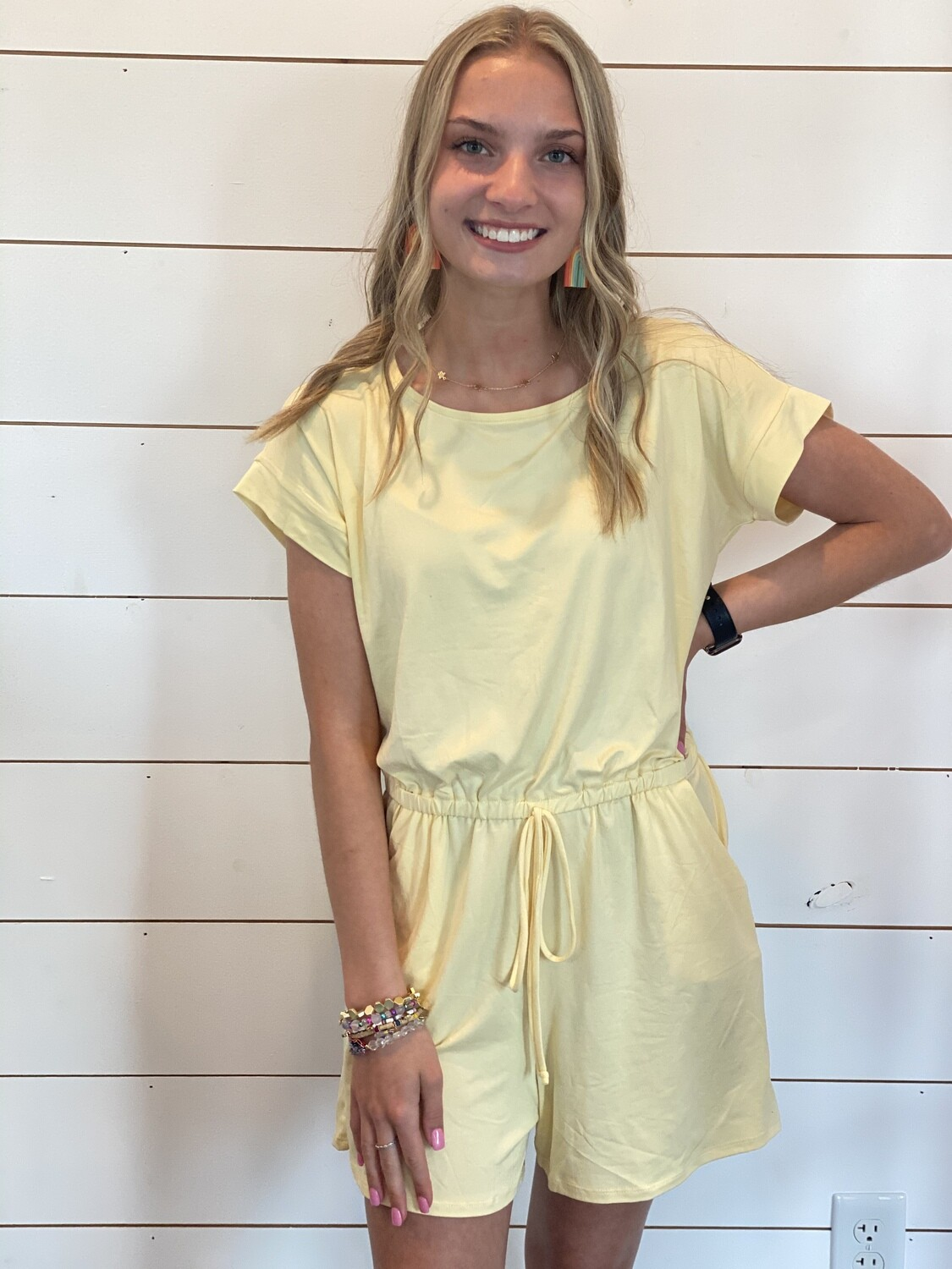 Yellow Soft Romper With Pockets