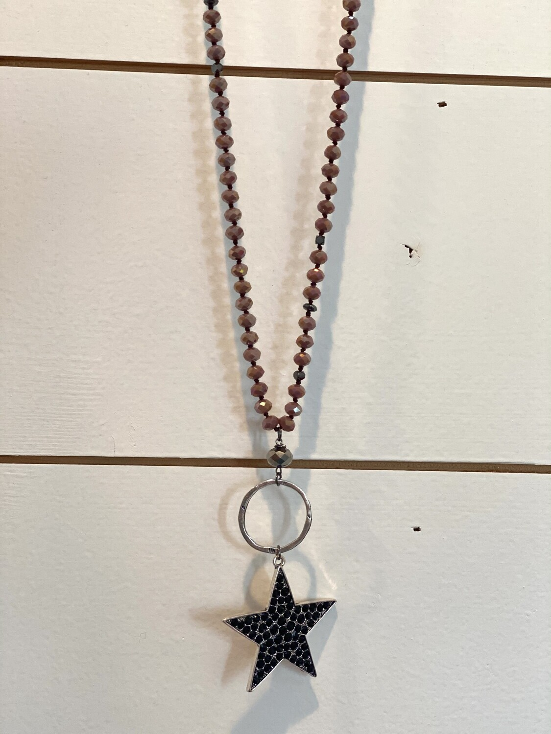Dusty Rose Beaded Star Necklace