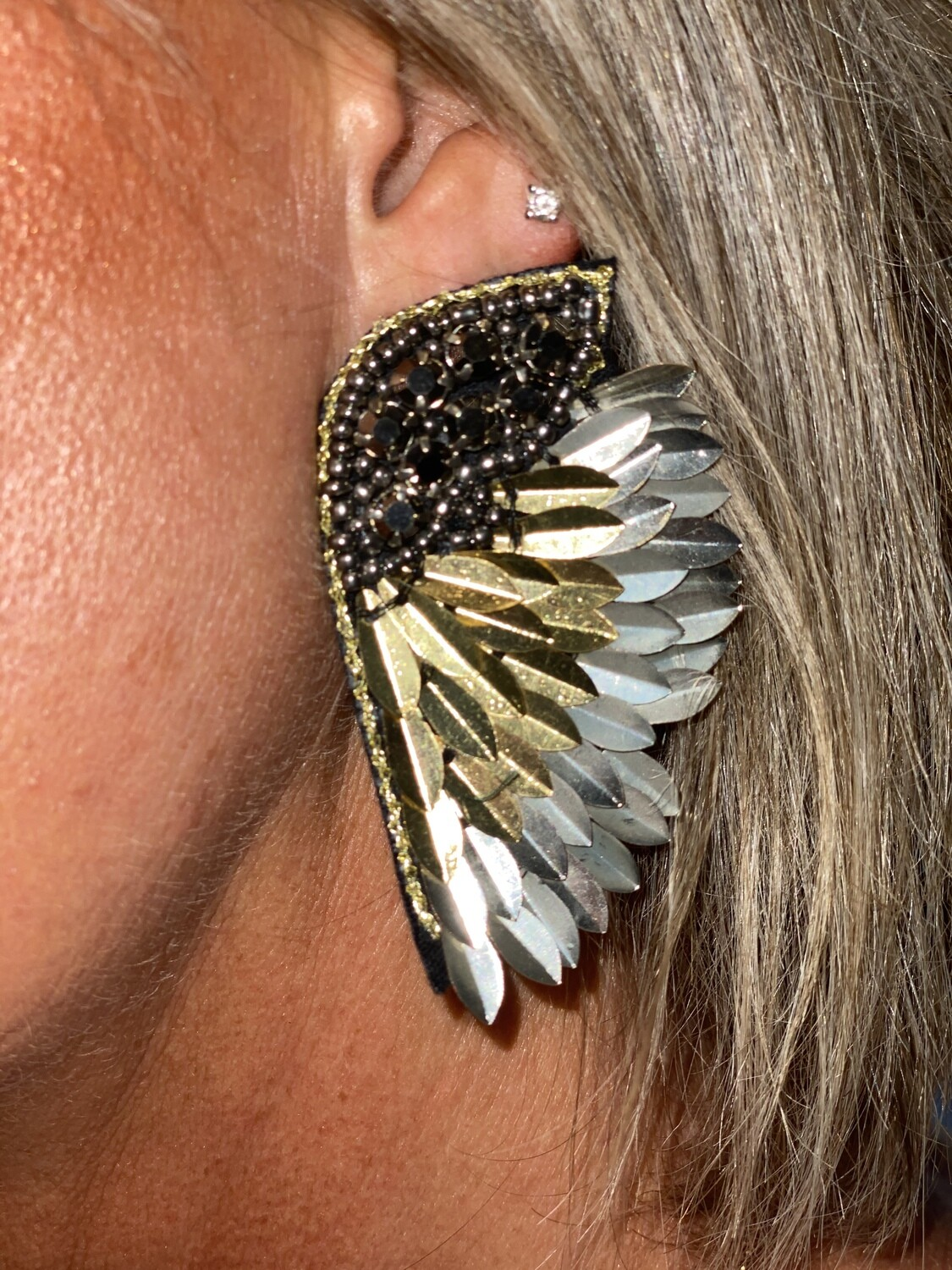 Gold Toned Statement Wing Earrings