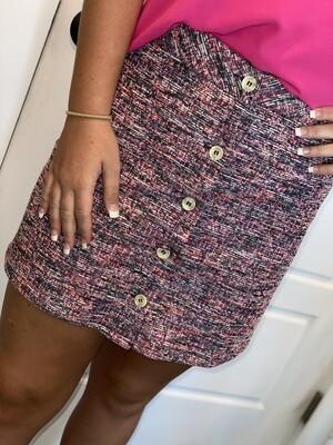 Woven Button Front Mini Skirt