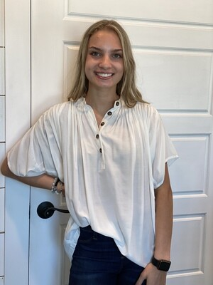 Off White Pleated Blouse With Buttons