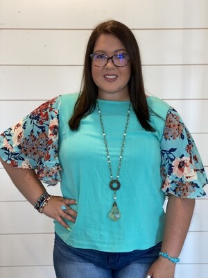 Plus Floral Sleeve Turquoise Linen Top