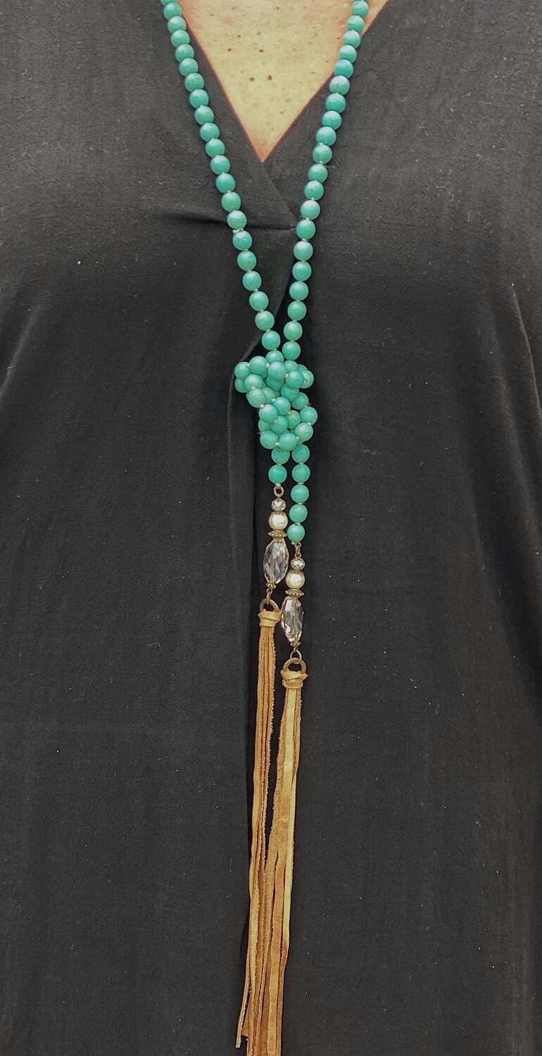 Turquoise Beaded Tassel & Crystal Necklace