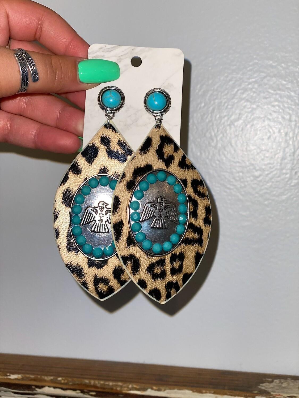 Turquoise Studded Thunderbird Earrrings