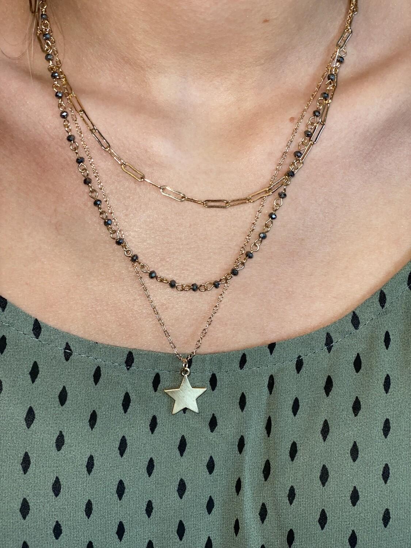 Gold Hematite Bead Layered Star Necklace