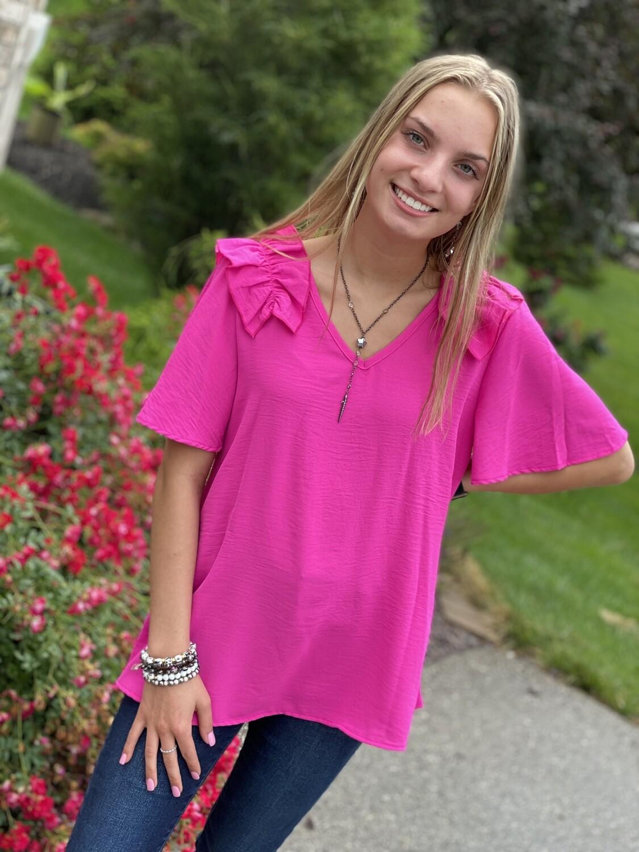 Hot Pink V-Neck Ruffle Shoulder Blouse