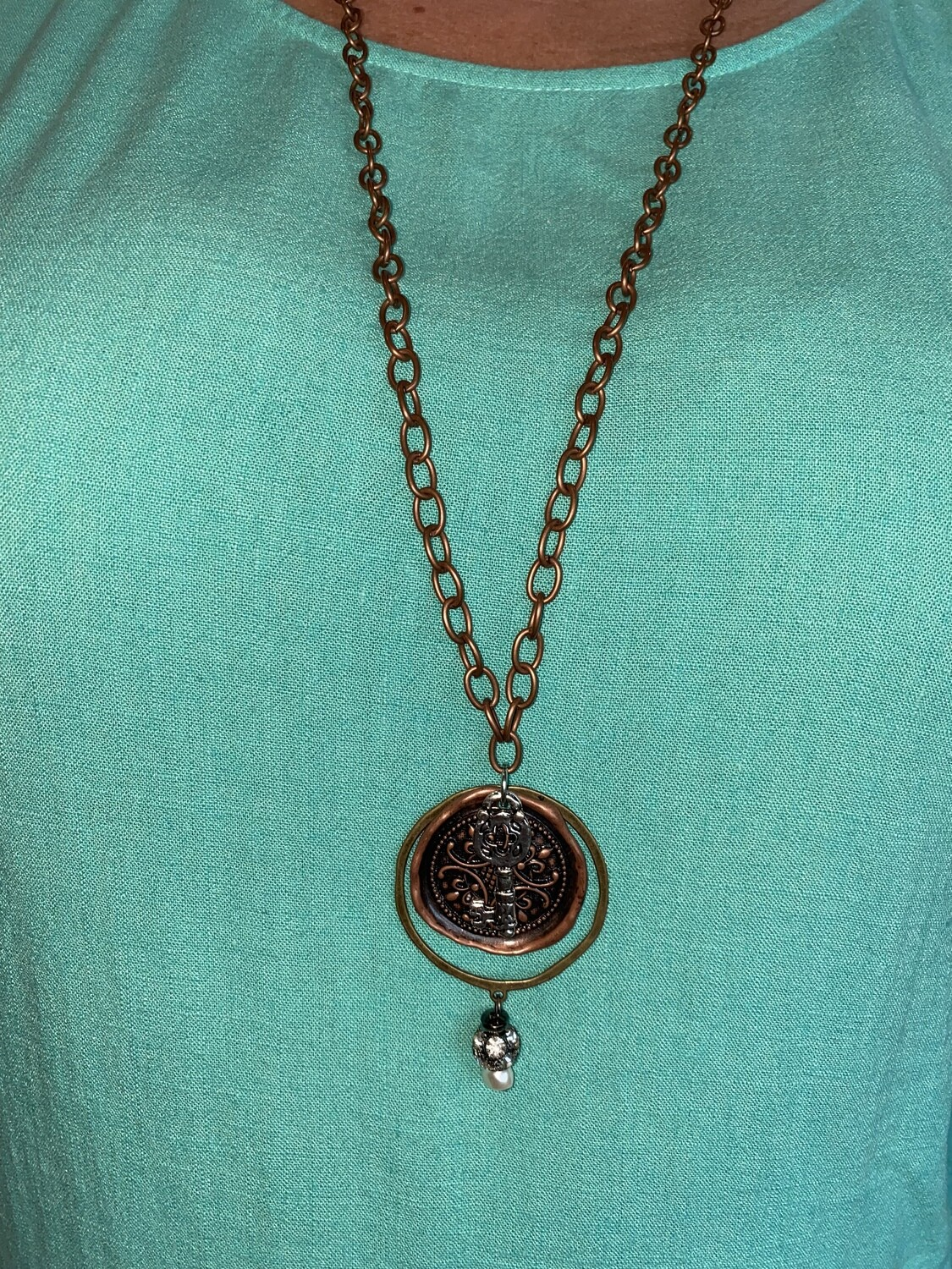 Copper & Brass Circle Charm Necklace