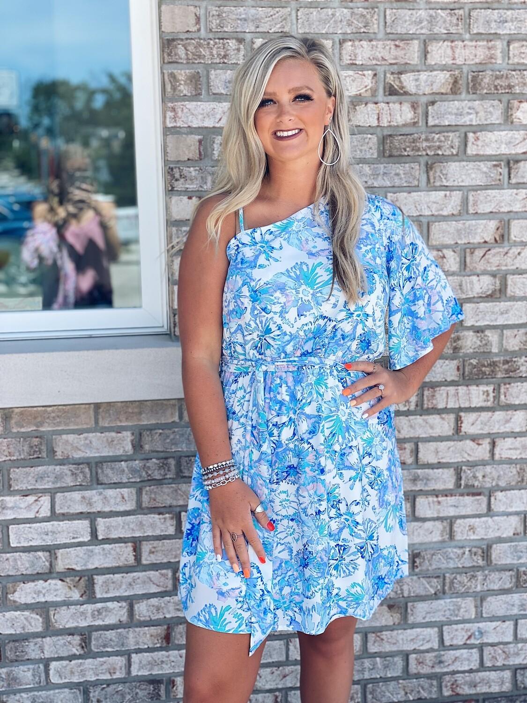 Blue Mix Floral Print One Shoulder Dress