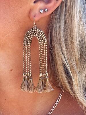 Gold Dangle Taupe Tassel Earrings