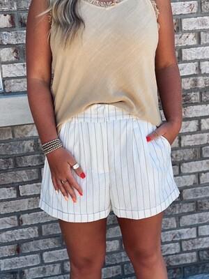 Striped Linen Elastic Waist Shorts