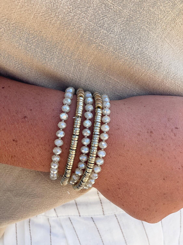 Gold & Cream Beaded Bracelet Set