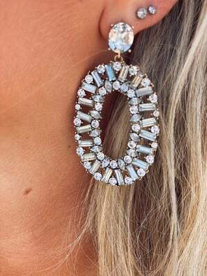 Oval Gem Earrings
