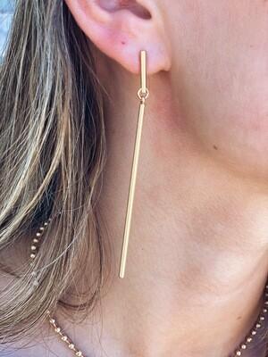 Gold Long Bar Dainty Earrings