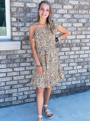 Cheetah One Shoulder Ruffle Dress