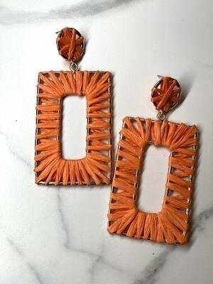 Orange Raffia Rectangle Earrings