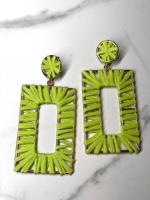 Green Raffia Rectangle Earrings
