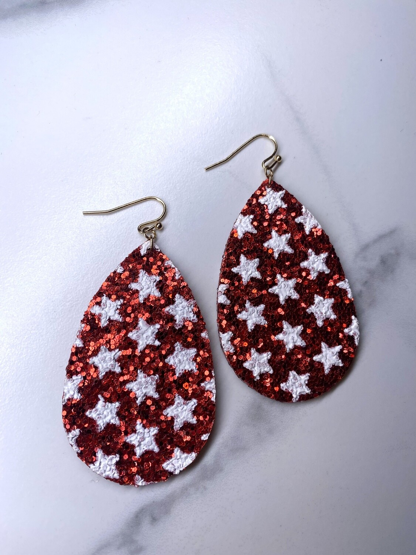 Red Glitter Star Earrings