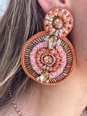 Orange Mixed Bead Earrings