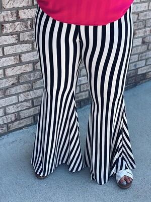 Striped Bell Bottom Pants