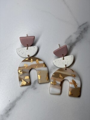 Mauve With Gold Flake Clay Earrings