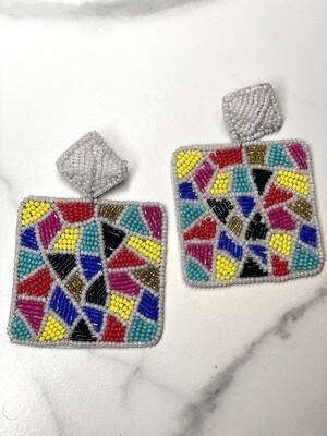 Multi Geometric Beaded Earrings